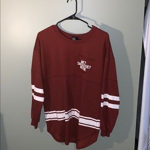 Reddish brown football striped shirt